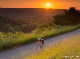 Cyclist at sunset, Box Hill