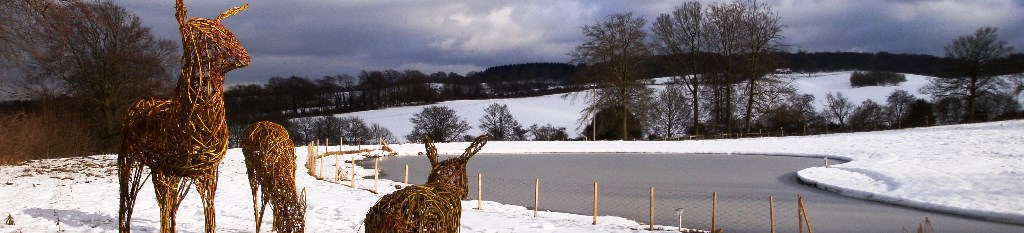 Clandon-Downs-in-winter-snow-with-deer-sculpture