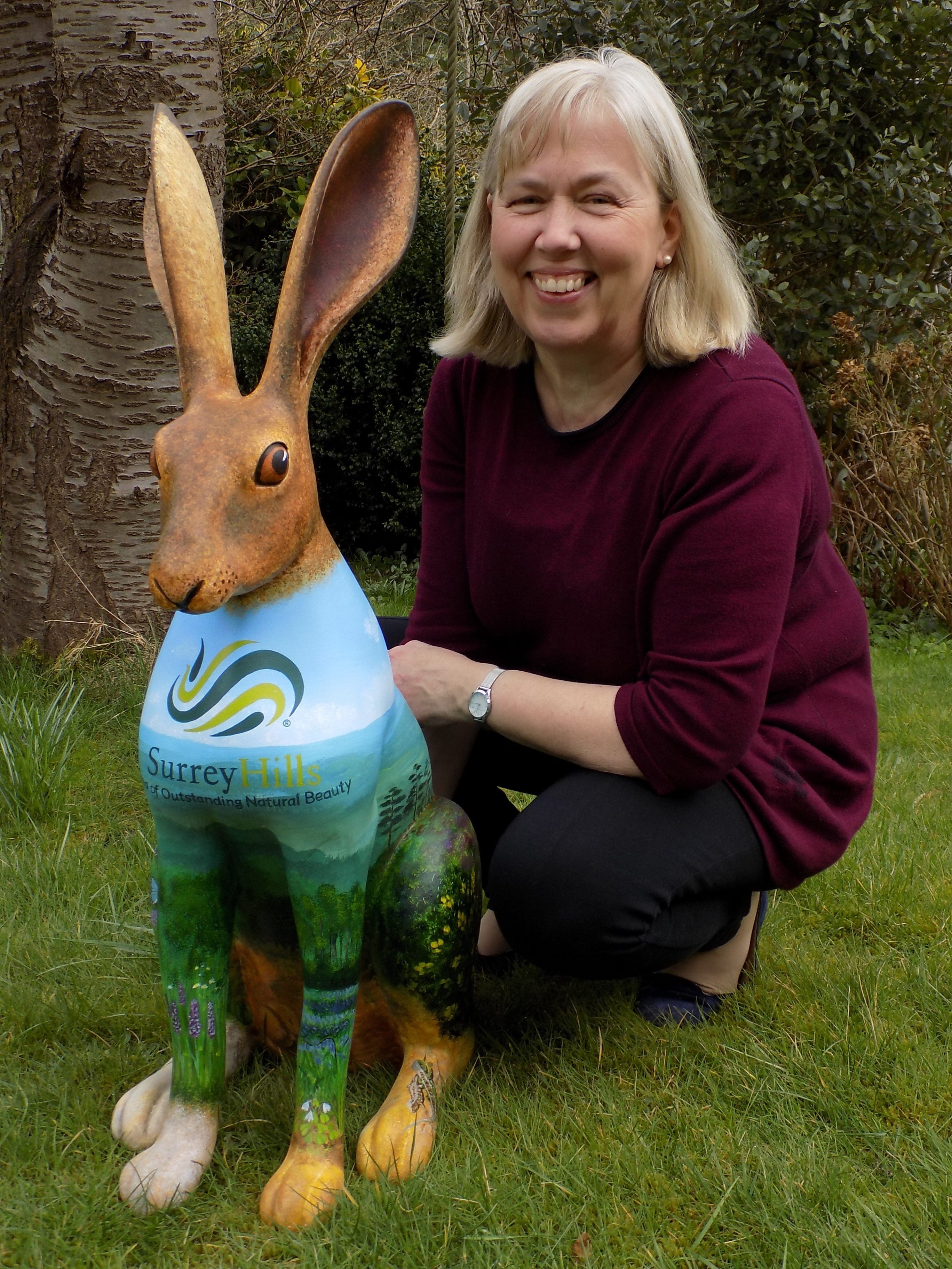 Charlotte Choi (artist) with the Surrey Hills HareRW