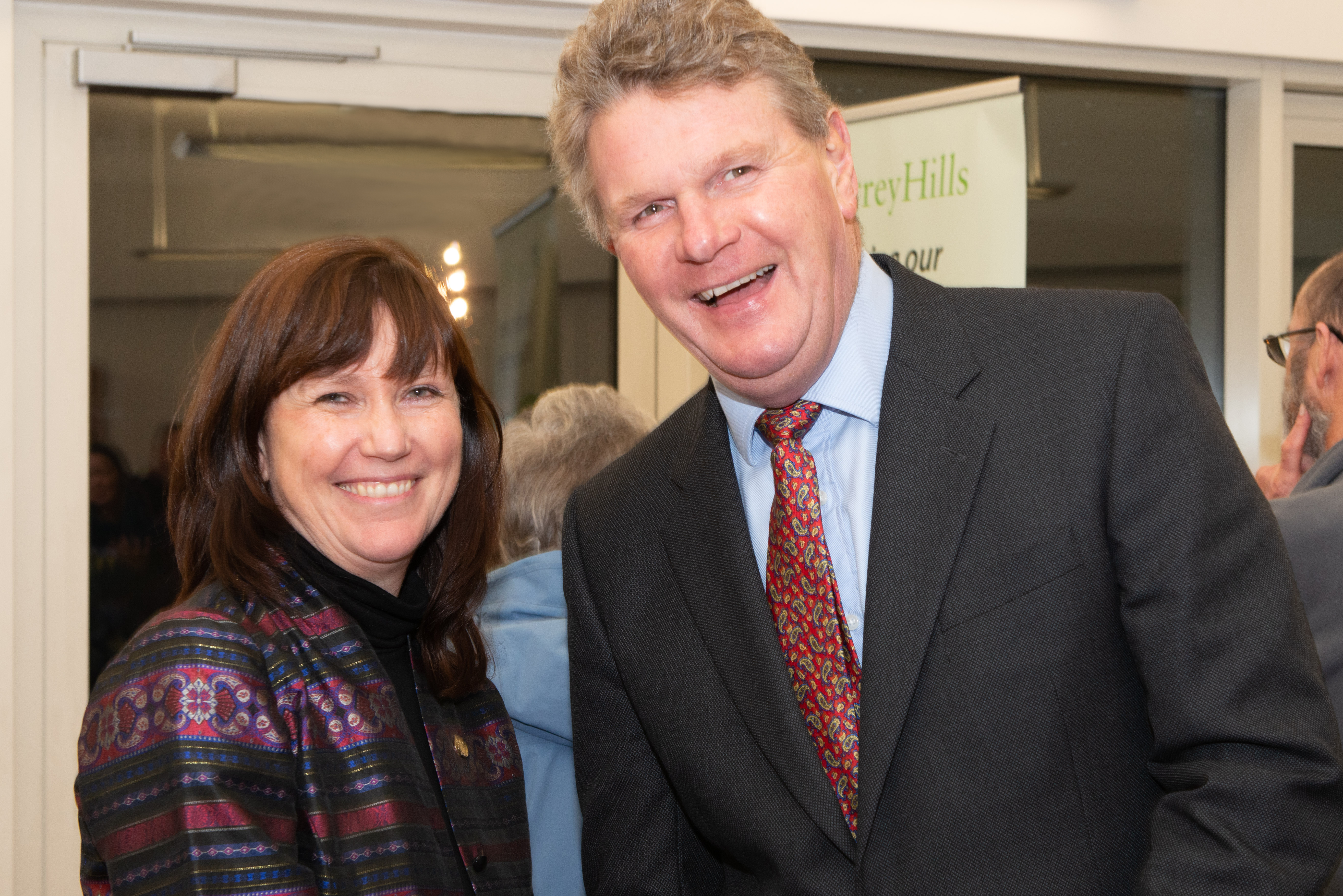 Christine Howard, Vice President of the Surrey Hills Society and Bill Biddel, the Vice Lord-Lieutenant of Surrey