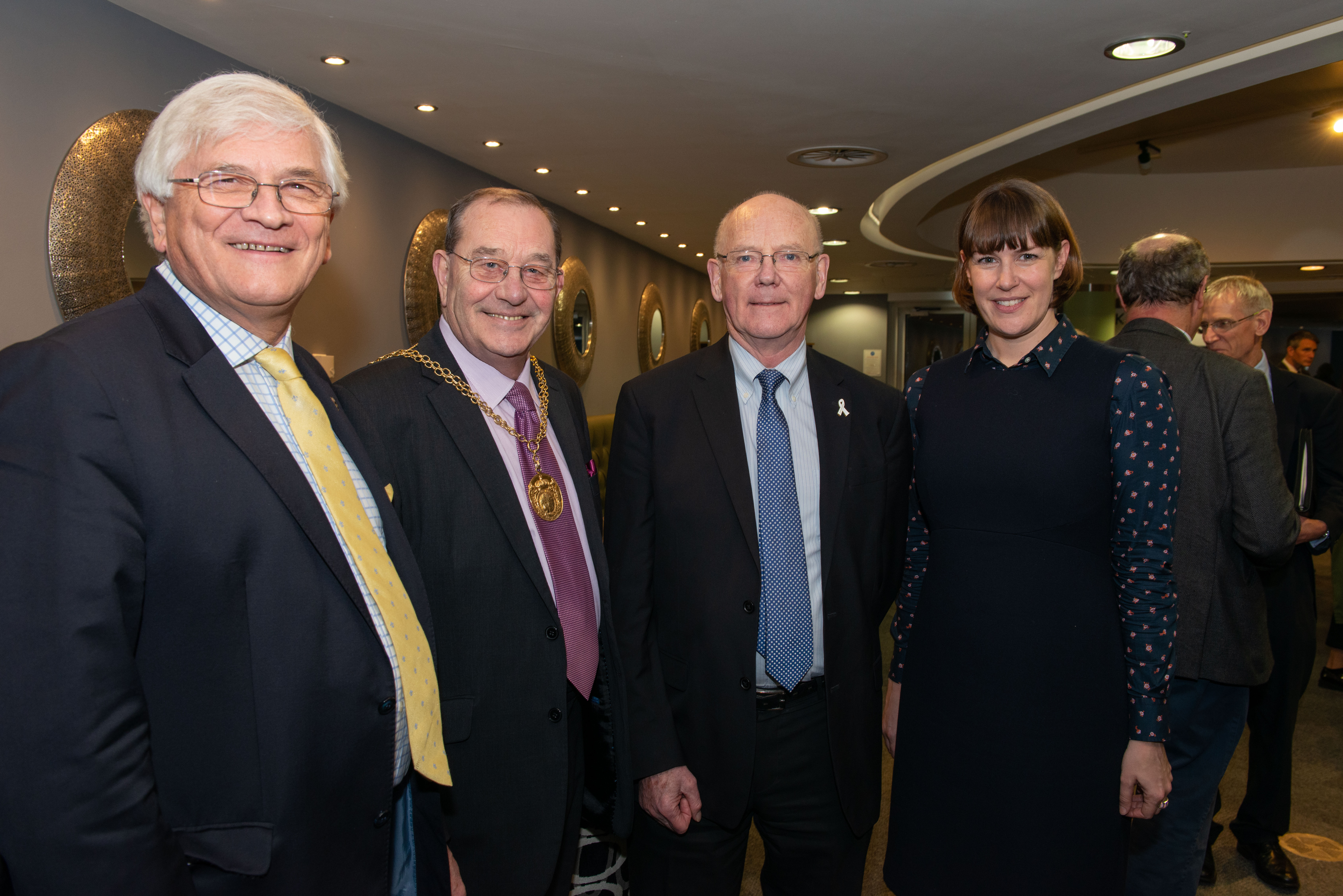From left; Peter Martin, Mayor of Guildford, Councillor Mike Parsons, Surrey Police & Crime Commissioner, David Munro & Clare Masters from Wates
