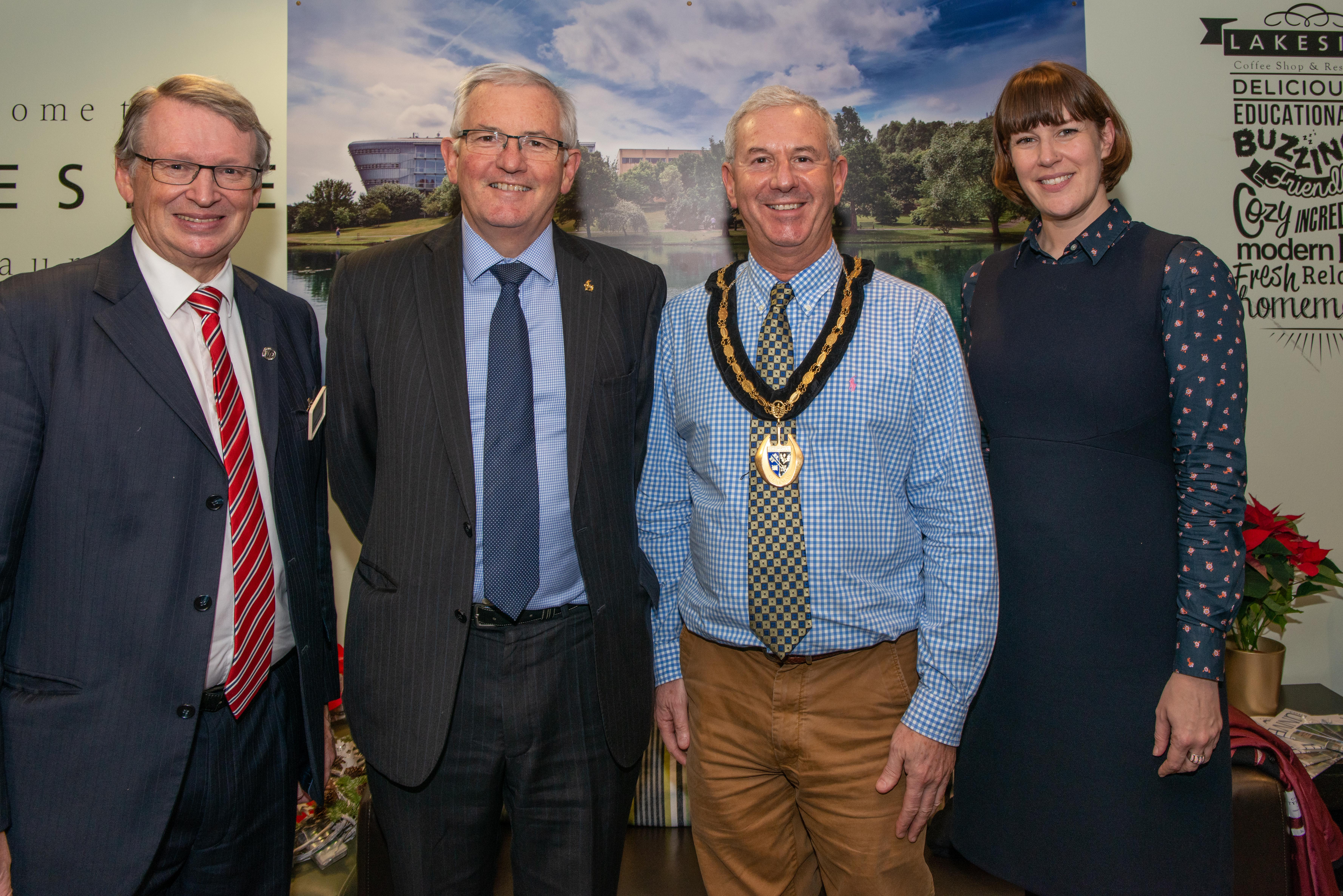 Councillor Gordon Jackson, Senior Vice President University of Surrey, Greg Melly, Chairman of Surrey County Council, Tony Samuels & Clare Masters from Wates