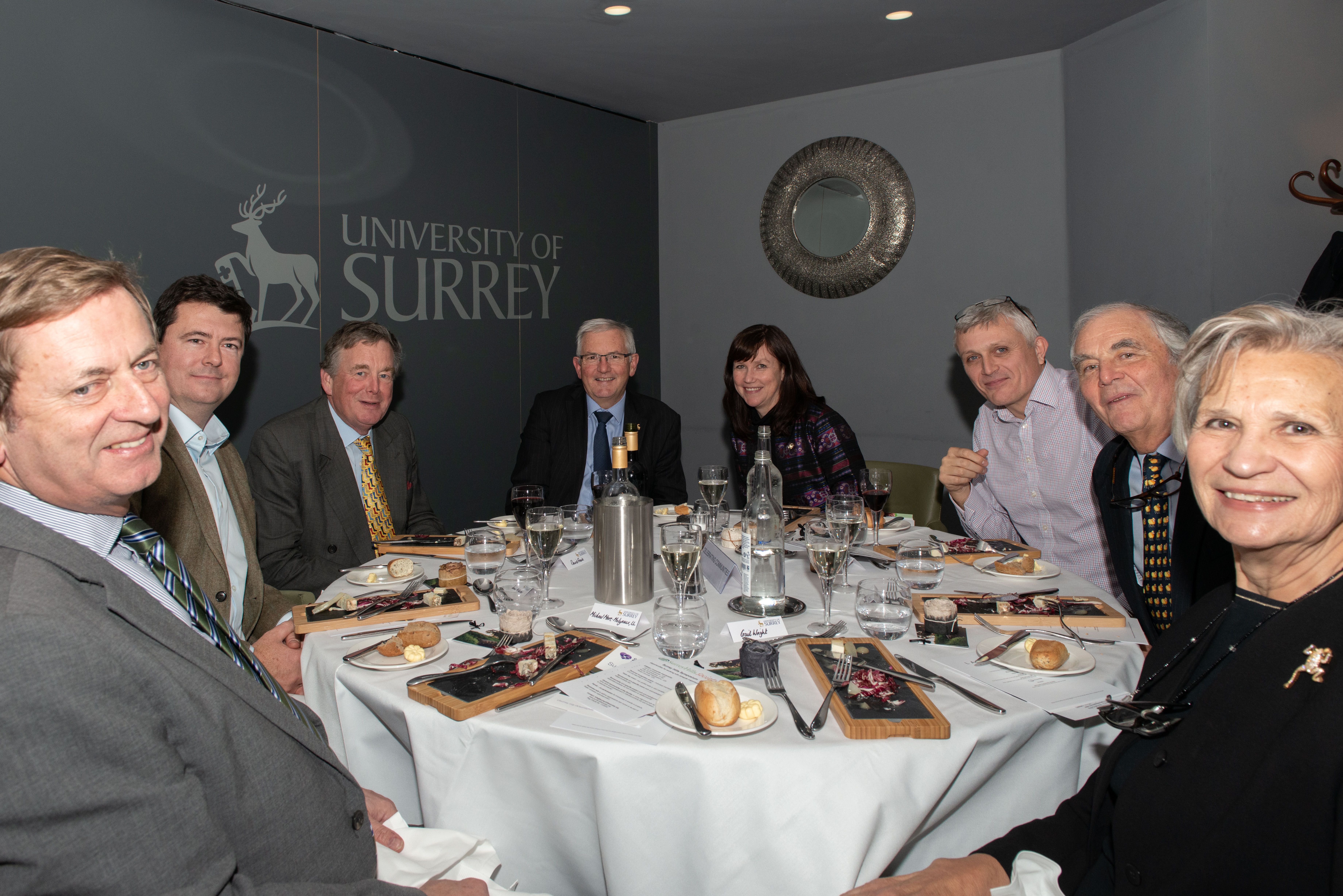 Private Dinner guests: From left Michael More-Molyneux, Jamie McAllister, Guest, Greg Melly, Christine Howard, Adam Wallace, David & Gail Wright