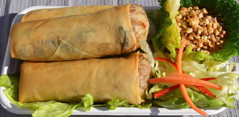 Thai-spring-rolls-with-optional-sweet-chilli-peanut-dip